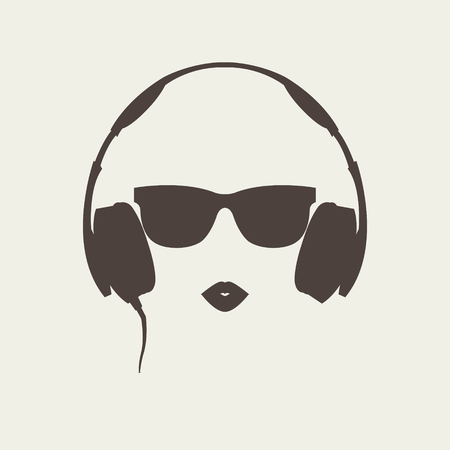 Vector silhouette of colored girl with brown headphones