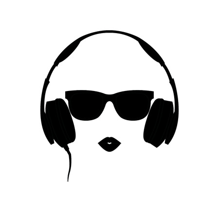 Vector silhouette of colored girl with black headphones