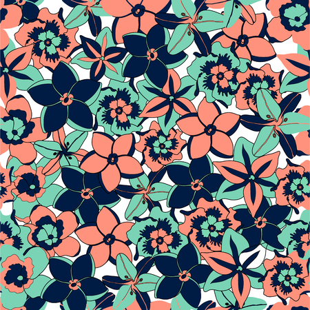 Vector illustration tropical flowers seamless background pattern