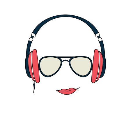 Vektor-Illustration der Farbe Mann mit Kopfhörern