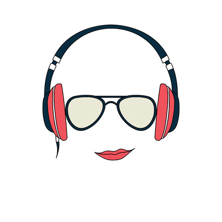Vector illustration of color man with headphones