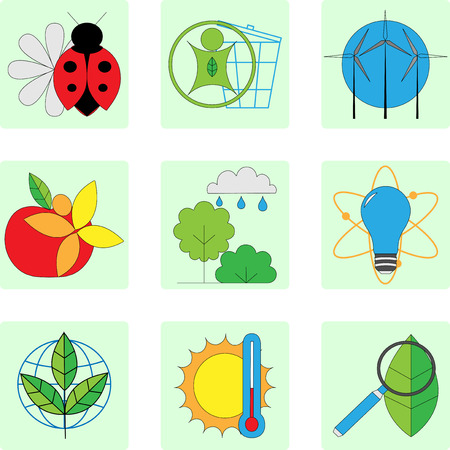 fauna: Vector set of line modern color icons for green energy Illustration