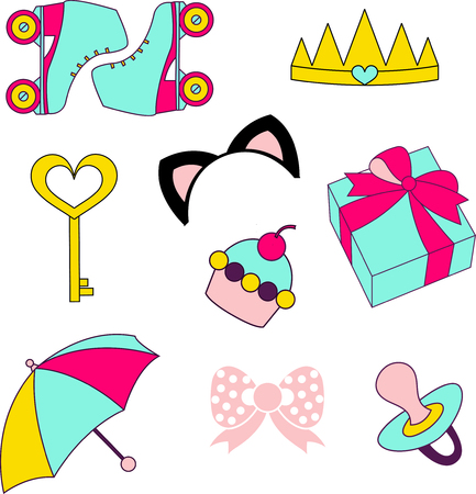 rollick: Vector isolated icons of glamor stickers and labeles