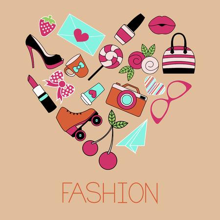 rollick: Vector illustration of heart shape fashion items