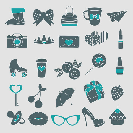 rollick: Vector isolated icons of glamor stickers and labeles set Illustration