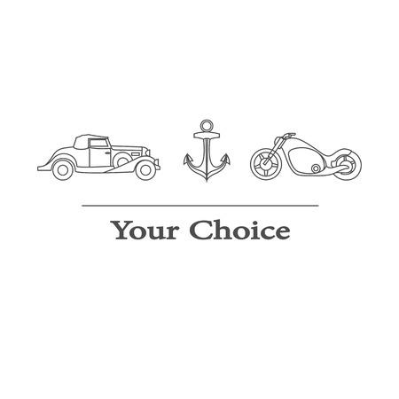 scrambler: Vector set of type of transport to choose from Illustration