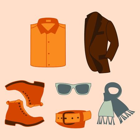 ilustración vectorial conjunto de accesorios de moda y estilo de ropa y zapatos de los hombres Ilustración de vector