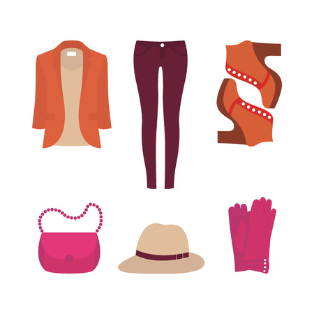 Flat design concept of fashion look and trendy clothes Illustration
