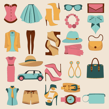 look: Flat design concept of fashion look and trendy accessories