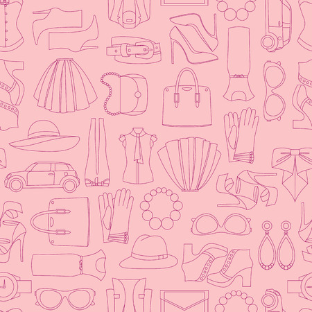spring coat: Vector seamless of fashion objects and trendy accessories Illustration