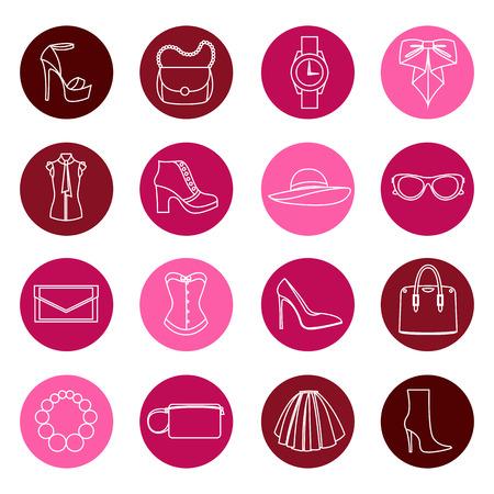 Los iconos de color concepto de diseño de accesorios de moda Ilustración de vector