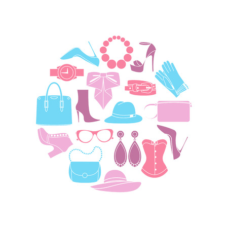 Icons design concept of fashion look and trendy accessories