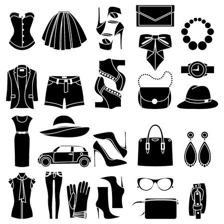 Iconen ontwerp concept van de fashion look en trendy accessoires Vector Illustratie