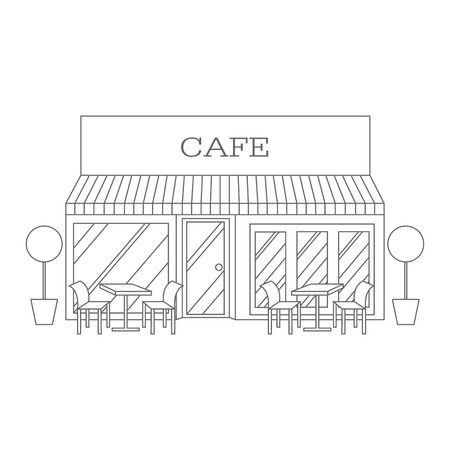 asian family: Vector line illustration of building restaurant and cafe