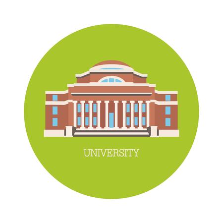 edificio de la universidad clásica hecha en línea de la silueta del vector