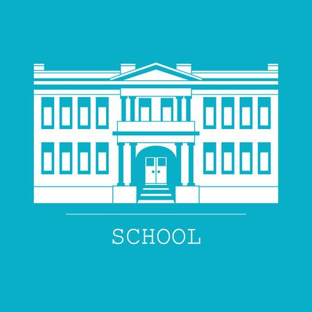 Silhouette Illustration der klassischen Schulgebäude in einem flachen Stil Standard-Bild - 66537545