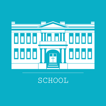 Silhouette illustration of classical school building in a flat style