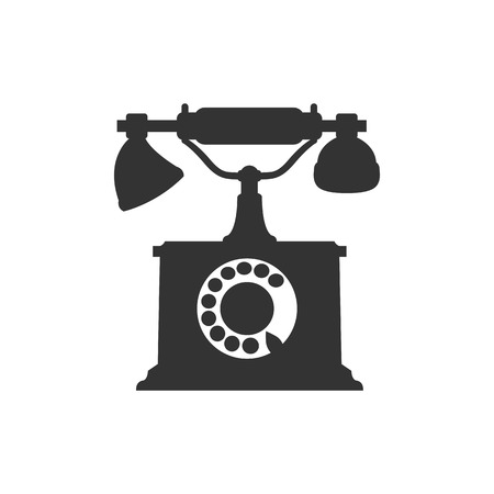 call history: Vector isolated silhouette of antique retro telephone
