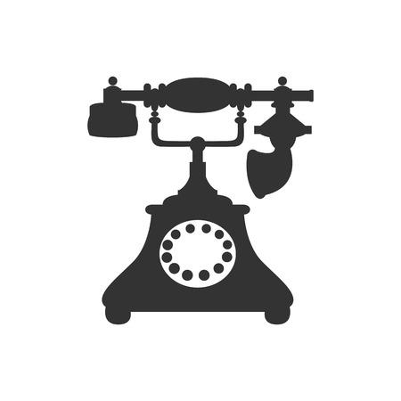 antique telephone: Vector isolated silhouette of antique retro telephone