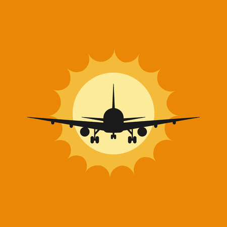 Vector illustration of aircraft to takeoff or landing at sunset Illustration