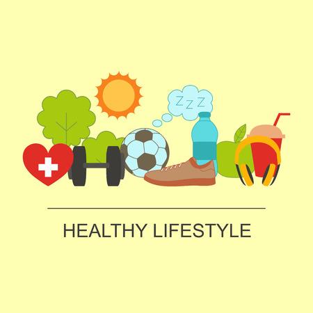 Gesunde Lebensweise-Set mit Essen und Sport-Symbole