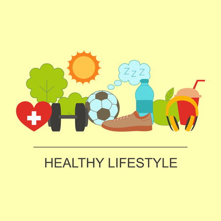 Healthy lifestyle set with food and sport icons
