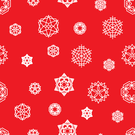 Snowflake seamless pattern on a red background