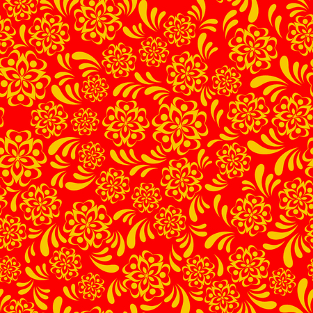 Vector traditional russian khokhloma seamless pattern style Illustration