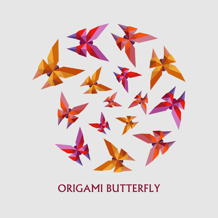 Illustration of modern flat design with origami butterfly isolated on white background