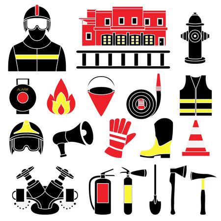 Vector set icons of firefighting equipment vector illustration