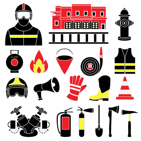 firefighting: Vector set icons of firefighting equipment vector illustration