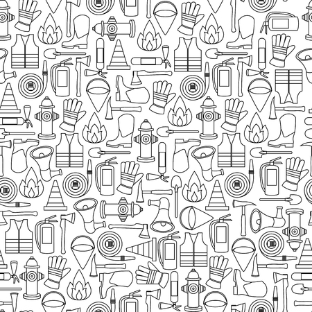 Vector pattern seamless of line firefighting equipment vector illustration