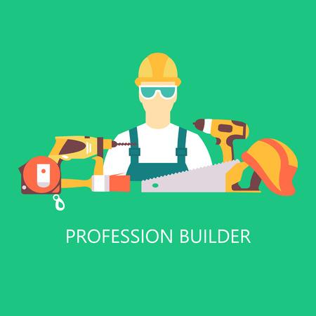 Vector color set collection of builder equipment vector illustration Illustration