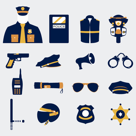 trooper: Vector color set collection icons of police equipment vector illustration