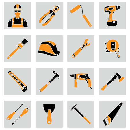 roller brush: Vector set icons of builder equipment vector illustration