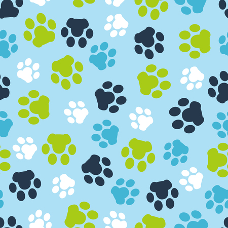 Pattern seamless of background animal blue footprints and paw