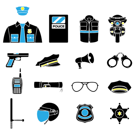 trooper: Vector set collection icons of police equipment vector illustration