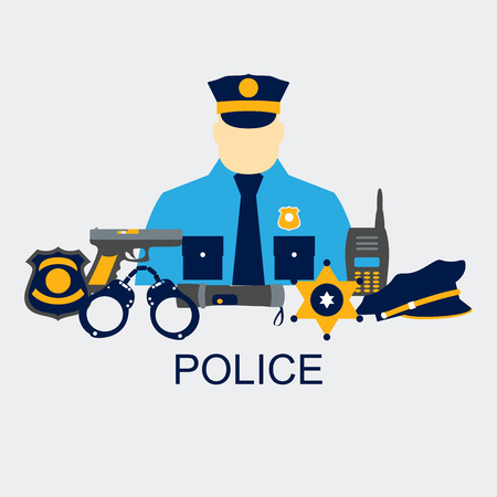 Vector line set collection icons of police equipment vector illustration Illustration
