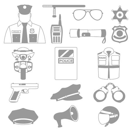 trooper: Vector line set collection icons of police equipment vector illustration Illustration