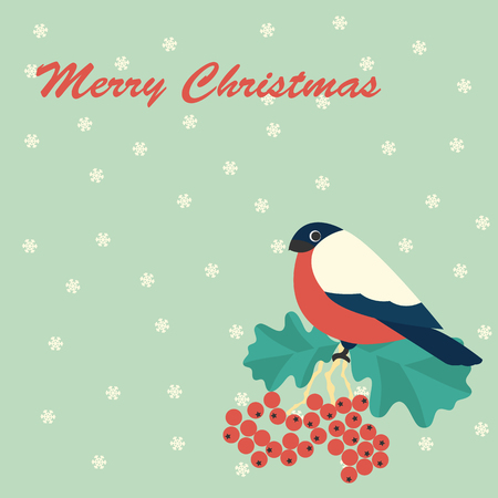 rowanberry: Merry Christmas vector illustration of bulfinch and rowan with snowflake