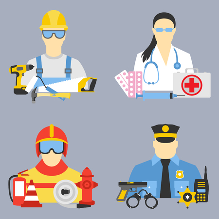 Vector set collection icons of professions equipment vector illustration Illustration