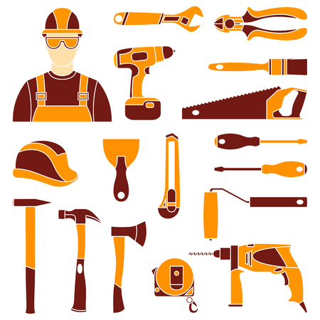 Vector color set icons of builder equipment vector illustration