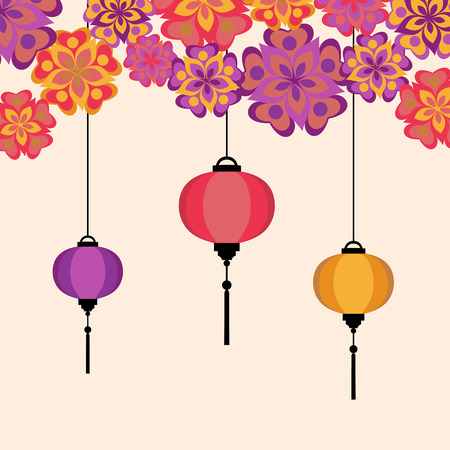 Vector illustration of Chineese Lanters decoration colorful fun set with flowers