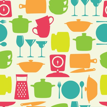 Kitchenware flat color design silhouette vector seamless pattern