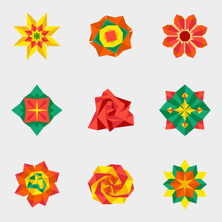 origami paper: Origami paper flower set icons vector illustration
