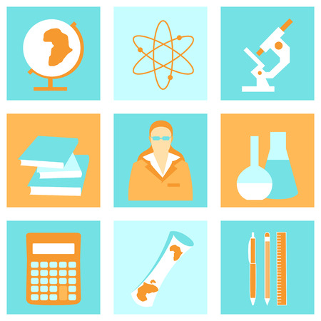 teacher and student: Education school university learning flat icons set