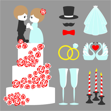 Vector illustration of wedding color symbol set