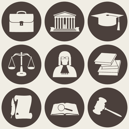 Vector illustration of law icons circle collection in flat style