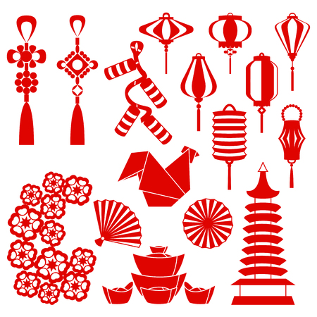 Vector illustration of Rooster Chinese New Year and symbols