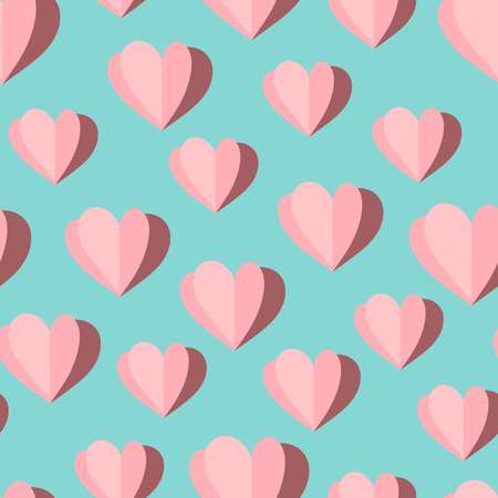 Vector seamless pattern of origami paper pink hearts Illustration